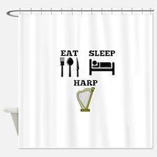 Eat Sleep Harp Shower Curtain