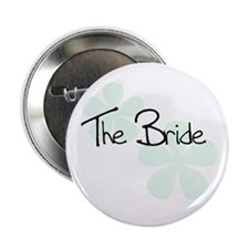 The Bride Green Flowers Button