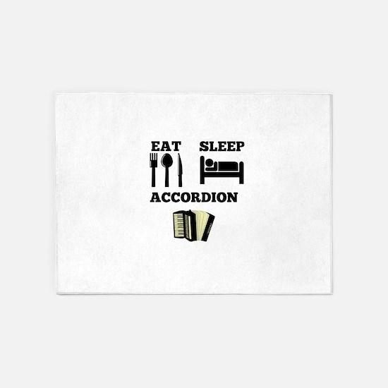 Eat Sleep Accordion 5'x7'Area Rug