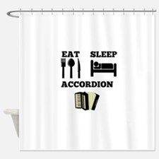 Eat Sleep Accordion Shower Curtain
