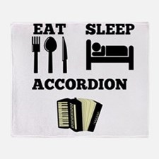 Eat Sleep Accordion Throw Blanket
