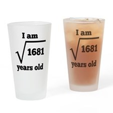 41st Birthday Square Root Drinking Glass