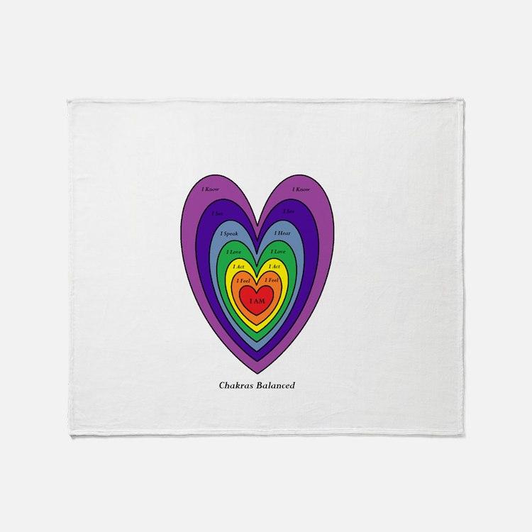 Chakras Balanced Heart Shape Throw Blanket