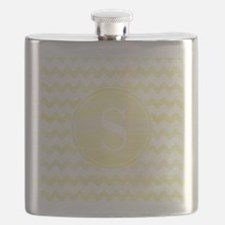 Yellow Watercolor Chevron Zigzag Pattern Mon Flask