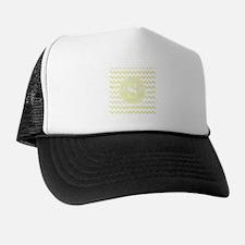 Yellow Watercolor Chevron Zigzag Patte Trucker Hat
