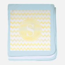 Yellow Watercolor Chevron Zigzag Patt baby blanket