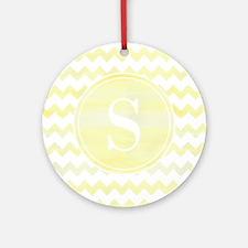 Yellow Watercolor Chevron Zigzag Ornament (Round)