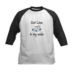 God Lives in my Socks Kids Baseball Jersey