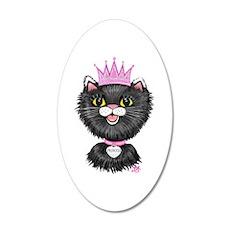 Cartoon Cat Princess (BW) 20x12 Oval Wall Decal