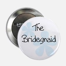 The Bridesmaid Blue Flowers Button