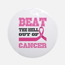 Beat Cancer Round Ornament