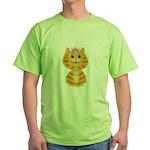Orange Tabby Cat Princess Green T-Shirt
