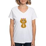 Orange Tabby Cat Princess Women's V-Neck T-Shirt