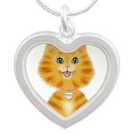 Orange Tabby Cat Princess Silver Heart Necklace