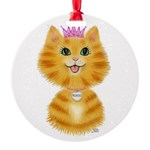 Orange Tabby Cat Princess Round Ornament