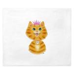 Orange Tabby Cat Princess King Duvet