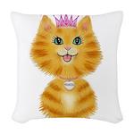 Orange Tabby Cat Princess Woven Throw Pillow