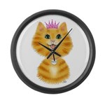 Orange Tabby Cat Princess Large Wall Clock