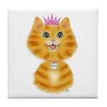 Orange Tabby Cat Princess Tile Coaster