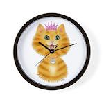 Orange Tabby Cat Princess Wall Clock