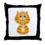 Orange Tabby Cat Princess Throw Pillow