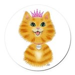 Orange Tabby Cat Princess Round Car Magnet