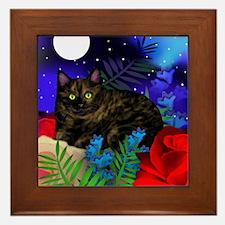 Tortoiseshell Cat Moon Garden Framed Tile