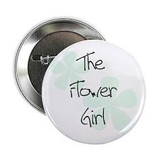 Flower Girl Green Flowers Button