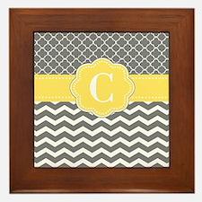 Gray Yellow Quatrefoil Chevron Monogram Framed Til