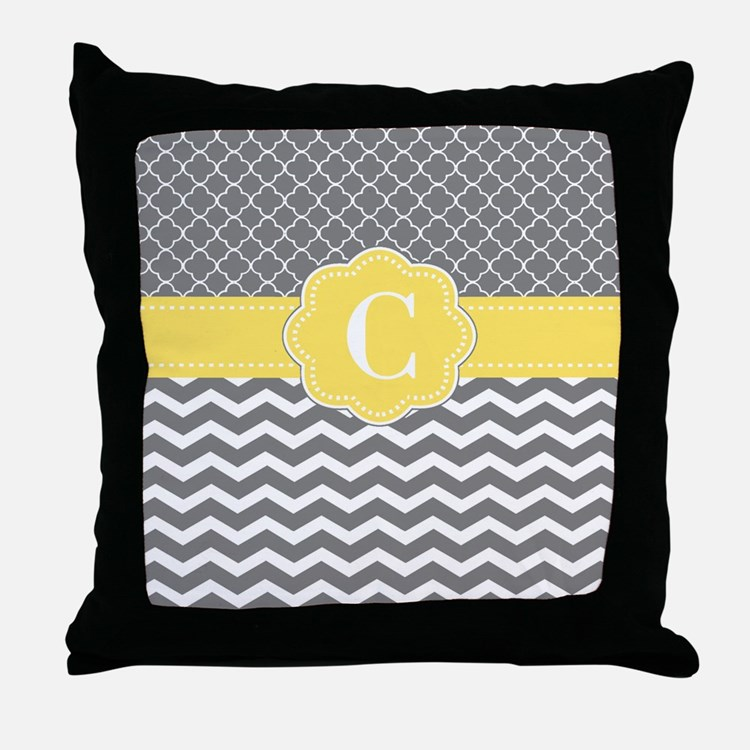 Gray Yellow Quatrefoil Chevron Monogram Throw Pill