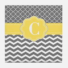 Gray Yellow Quatrefoil Chevron Monogram Tile Coast