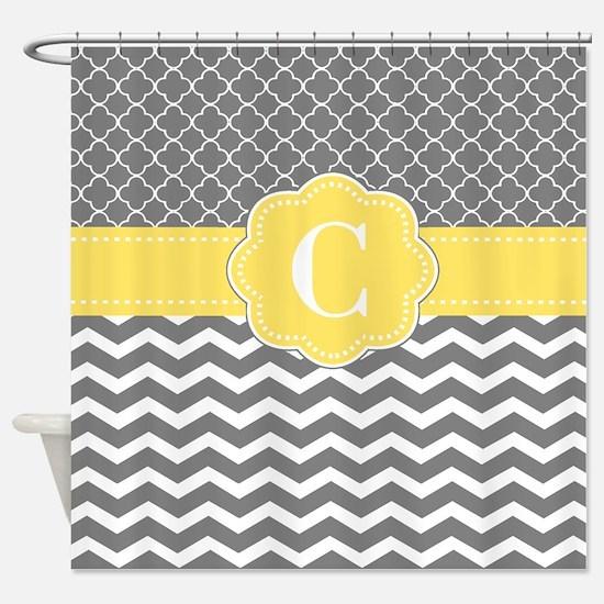 Gray Yellow Quatrefoil Chevron Monogram Shower Cur