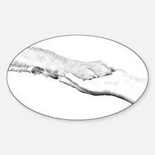 dog paw and human hand Decal