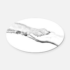 dog paw and human hand Oval Car Magnet