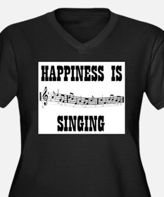 SINGING Women's Plus Size V-Neck Dark T-Shirt