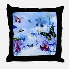 Take Flight B'fly Orchids Bugs Throw Pillow
