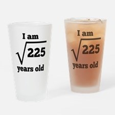 15th Birthday Square Root Drinking Glass