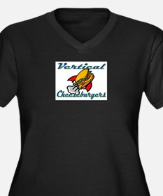 Vertical Cheeseburgers Women's Plus Size V-Neck Da
