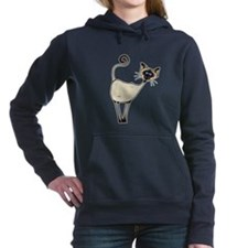 Cute Chocolate point siamese cat Women's Hooded Sweatshirt