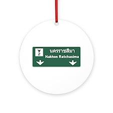 Nakhon Ratchasima Road Sign, Thai Ornament (Round)