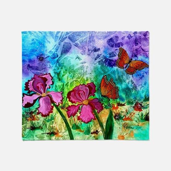 Pink Iris Throw Blanket