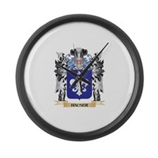 Hauser Coat of Arms - Family Cres Large Wall Clock