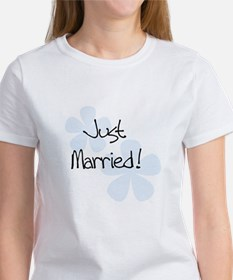 Blue Flowers Just Married Women's T-Shirt