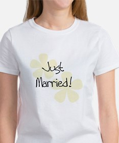 Yellow Flowers Just Married Women's T-Shirt