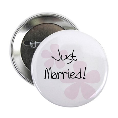 Pink Flowers Just Married Button