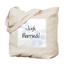 Blue Flowers Just Married Tote Bag