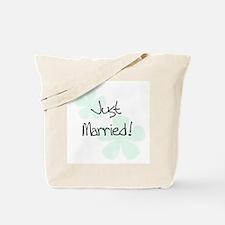 Green Flowers Just Married Tote Bag