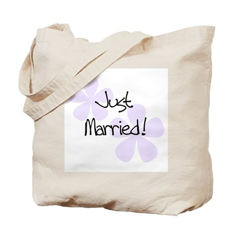 Lilac Flowers Just Married Tote Bag