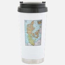 Vintage Map of Denmark Stainless Steel Travel Mug