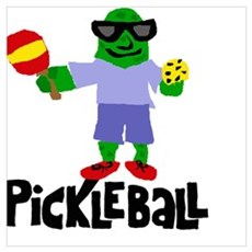 Pickle Playing Pickleball Canvas Art
